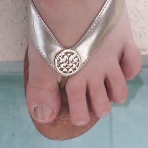 COACH Gold Leather CC Charm Thong Sandal